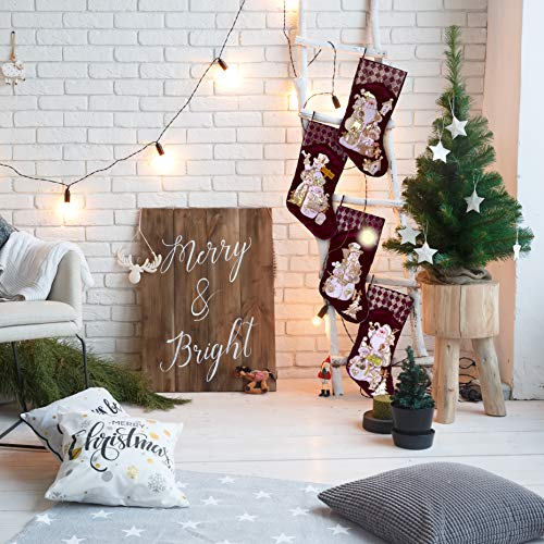 Embroidered Farmhouse Christmas Stockings Set Of 4 In Velvet Burgundy Family And Kids Holiday Stockings With Santa And Snowman Appliqu Designs Christmas Decorations Indoors 18 4 Pcs 0 4