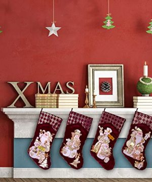 Embroidered Farmhouse Christmas Stockings Set Of 4 In Velvet Burgundy Family And Kids Holiday Stockings With Santa And Snowman Appliqu Designs Christmas Decorations Indoors 18 4 Pcs 0 5 300x360
