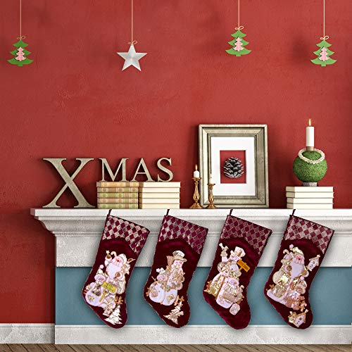 Embroidered Farmhouse Christmas Stockings Set Of 4 In Velvet Burgundy Family And Kids Holiday Stockings With Santa And Snowman Appliqu Designs Christmas Decorations Indoors 18 4 Pcs 0 5