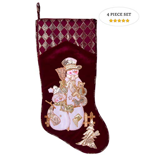 Embroidered Farmhouse Christmas Stockings Set Of 4 In Velvet Burgundy Family And Kids Holiday Stockings With Santa And Snowman Appliqu Designs Christmas Decorations Indoors 18 4 Pcs 0
