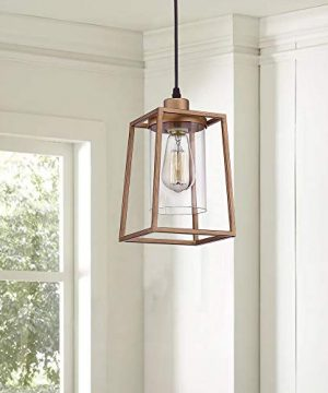 Emliviar Indoor Mini Pendant Light Cage Hanging Light Fixture Antique Gold Finish With Clear Glass Shade 3046M1L 0 0 300x360