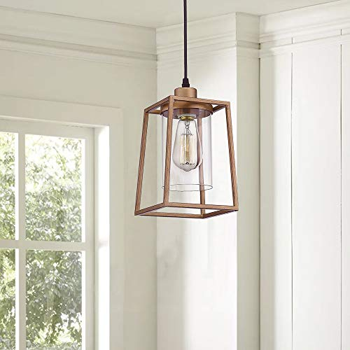 Emliviar Indoor Mini Pendant Light Cage Hanging Light Fixture Antique Gold Finish With Clear Glass Shade 3046M1L 0 0
