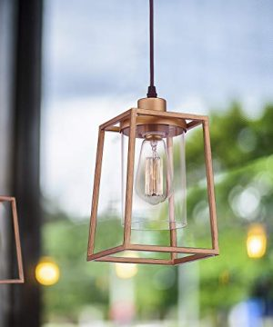 Emliviar Indoor Mini Pendant Light Cage Hanging Light Fixture Antique Gold Finish With Clear Glass Shade 3046M1L 0 2 300x360