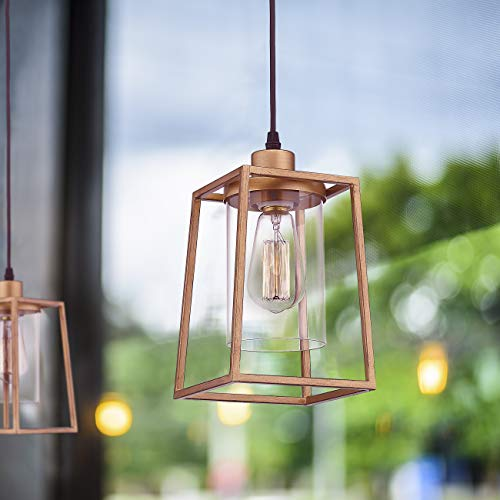 Emliviar Indoor Mini Pendant Light Cage Hanging Light Fixture Antique Gold Finish With Clear Glass Shade 3046M1L 0 2