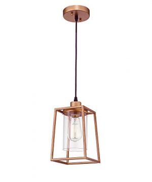 Emliviar Indoor Mini Pendant Light Cage Hanging Light Fixture Antique Gold Finish With Clear Glass Shade 3046M1L 0 300x360