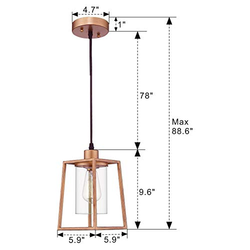 Emliviar Indoor Mini Pendant Light Cage Hanging Light Fixture Antique Gold Finish With Clear Glass Shade 3046M1L 0 5