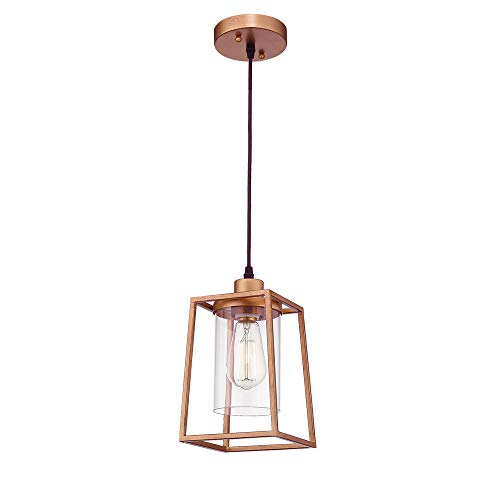 Emliviar Indoor Mini Pendant Light Cage Hanging Light Fixture Antique Gold Finish With Clear Glass Shade 3046M1L 0