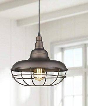Emliviar Industrial Metal Cage Pendant Light 12 Vintage Barn Light Farmhouse Lamp Shade Hanging Light Oil Rubbed Bronze 50007 MP 0 0 300x360