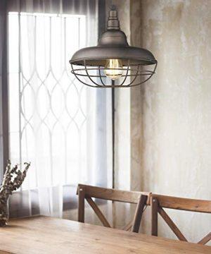Emliviar Industrial Metal Cage Pendant Light 12 Vintage Barn Light Farmhouse Lamp Shade Hanging Light Oil Rubbed Bronze 50007 MP 0 2 300x360