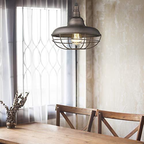 Emliviar Industrial Metal Cage Pendant Light 12 Vintage Barn Light Farmhouse Lamp Shade Hanging Light Oil Rubbed Bronze 50007 MP 0 2