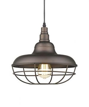 Emliviar Industrial Metal Cage Pendant Light 12 Vintage Barn Light Farmhouse Lamp Shade Hanging Light Oil Rubbed Bronze 50007 MP 0 300x360