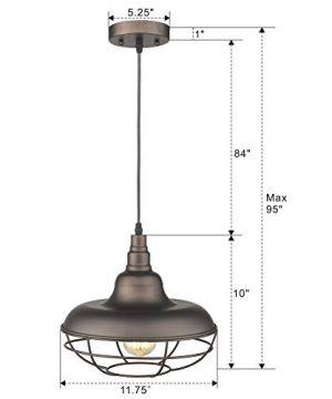 Emliviar Industrial Metal Cage Pendant Light 12 Vintage Barn Light Farmhouse Lamp Shade Hanging Light Oil Rubbed Bronze 50007 MP 0 4 300x360