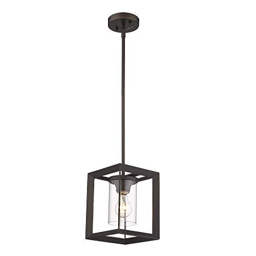 Emliviar Modern Glass Pendant Light Single Light Metal Wire Cage Hanging Pendant Light Oil Rubbed Bronze With Clear Glass Shade And 42 Rod 2083M1L ORB 0 0