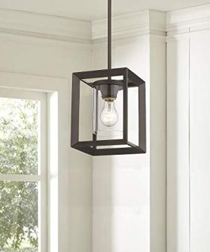 Emliviar Modern Glass Pendant Light Single Light Metal Wire Cage Hanging Pendant Light Oil Rubbed Bronze With Clear Glass Shade And 42 Rod 2083M1L ORB 0 1 300x360