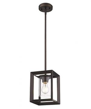 Emliviar Modern Glass Pendant Light Single Light Metal Wire Cage Hanging Pendant Light Oil Rubbed Bronze With Clear Glass Shade And 42 Rod 2083M1L ORB 0 300x360