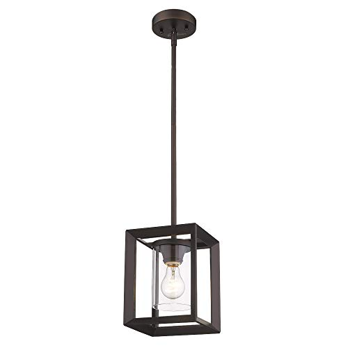 Emliviar Modern Glass Pendant Light Single Light Metal Wire Cage Hanging Pendant Light Oil Rubbed Bronze With Clear Glass Shade And 42 Rod 2083M1L ORB 0