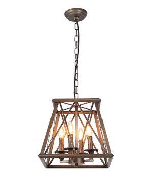 Eumyviv C0026 4 Lights Trapezoid Metal Pendant Lamp Bronze Finished Retro Rustic Vintage Industrial Edison Hanging Light Fixture Ceiling Lamp Chandeliers 0 300x360