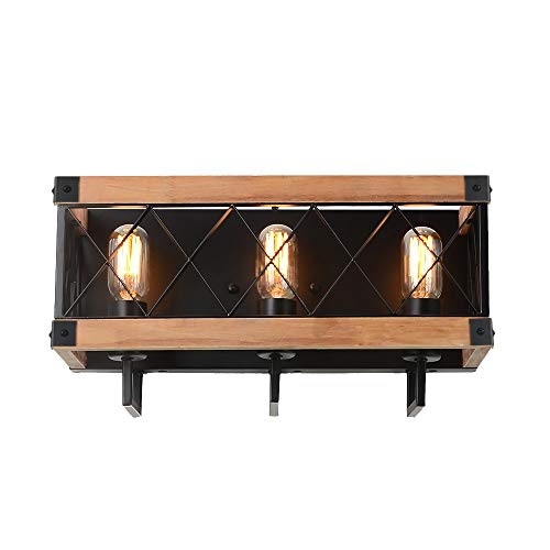 Eumyviv Rustic Wood Wall Lamp With Mesh Cage Industrial Wall Sconce Retro Bathroom Lamp Log Cabin Home Vintage Edison Sconce Light Fixture 3 Lights Brown W0059 0 1