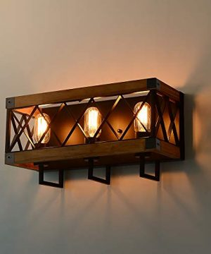 Eumyviv Rustic Wood Wall Lamp With Mesh Cage Industrial Wall Sconce Retro Bathroom Lamp Log Cabin Home Vintage Edison Sconce Light Fixture 3 Lights Brown W0059 0 3 300x360