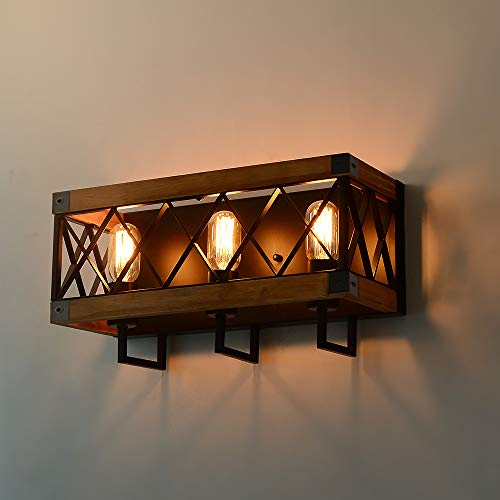 Eumyviv Rustic Wood Wall Lamp With Mesh Cage Industrial Wall Sconce Retro Bathroom Lamp Log Cabin Home Vintage Edison Sconce Light Fixture 3 Lights Brown W0059 0 3
