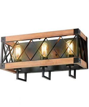 Eumyviv Rustic Wood Wall Lamp With Mesh Cage Industrial Wall Sconce Retro Bathroom Lamp Log Cabin Home Vintage Edison Sconce Light Fixture 3 Lights Brown W0059 0 300x360