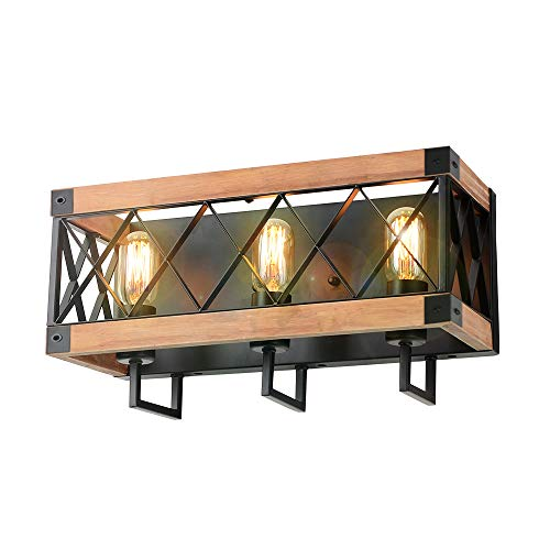 Eumyviv Rustic Wood Wall Lamp With Mesh Cage Industrial Wall Sconce Retro Bathroom Lamp Log Cabin Home Vintage Edison Sconce Light Fixture 3 Lights Brown W0059 0