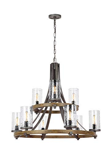 Feiss F31359DWKSGM Angelo Glass Chandelier Lighting With Shades Iron 9 Light 33Dia X 31H 540watts 0 0