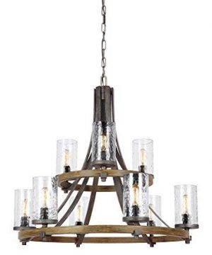Feiss F31359DWKSGM Angelo Glass Chandelier Lighting With Shades Iron 9 Light 33Dia X 31H 540watts 0 300x360
