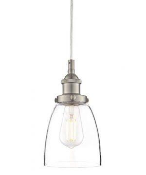 Fiorentino LED Brushed Nickel Pendant Light WClear Glass Shade Linea Di Liara LL P281 LED BN 0 0 300x360