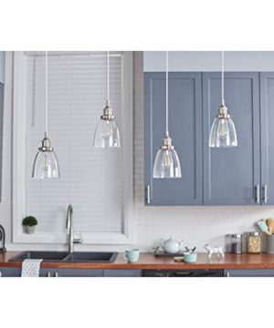Fiorentino LED Brushed Nickel Pendant Light WClear Glass Shade Linea Di Liara LL P281 LED BN 0 2 300x360
