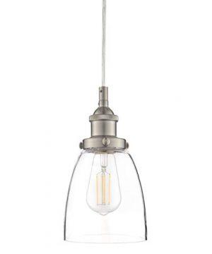 Fiorentino LED Brushed Nickel Pendant Light WClear Glass Shade Linea Di Liara LL P281 LED BN 0 300x360