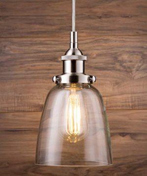 Fiorentino LED Brushed Nickel Pendant Light WClear Glass Shade Linea Di Liara LL P281 LED BN 0 4 300x360