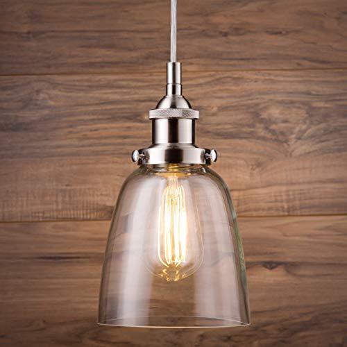 Fiorentino LED Brushed Nickel Pendant Light WClear Glass Shade Linea Di Liara LL P281 LED BN 0 4