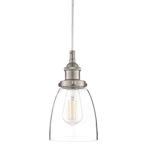 Fiorentino LED Brushed Nickel Pendant Light WClear Glass Shade Linea Di Liara LL P281 LED BN 0