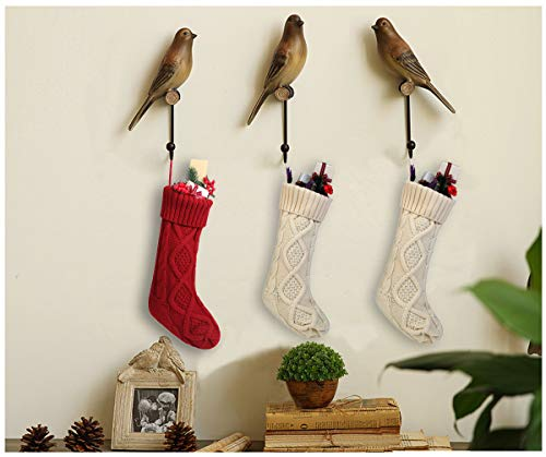 Free Yoka Cable Knit Christmas Stockings Kits Solid Color White Ivory Classic Decorations 18 Set Of 2 0 0
