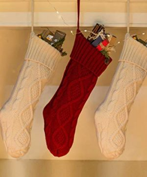Free Yoka Cable Knit Christmas Stockings Kits Solid Color White Ivory Classic Decorations 18 Set Of 2 0 1 300x360