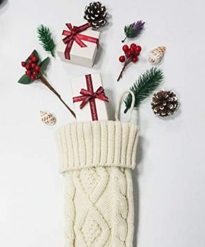 Free Yoka Cable Knit Christmas Stockings Kits Solid Color White Ivory Classic Decorations 18 Set Of 2 0 3 300x360