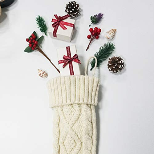 Free Yoka Cable Knit Christmas Stockings Kits Solid Color White Ivory Classic Decorations 18 Set Of 2 0 3