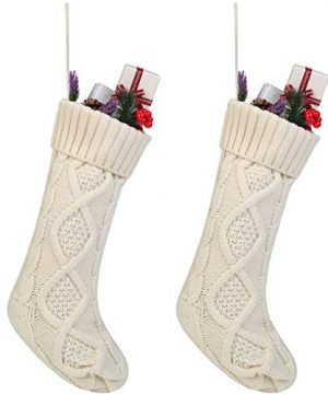 Free Yoka Cable Knit Christmas Stockings Kits Solid Color White Ivory Classic Decorations 18 Set Of 2 0 300x360