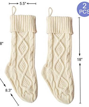 Free Yoka Cable Knit Christmas Stockings Kits Solid Color White Ivory Classic Decorations 18 Set Of 2 0 5 300x360