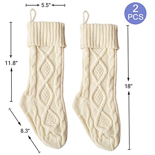 Free Yoka Cable Knit Christmas Stockings Kits Solid Color White Ivory Classic Decorations 18 Set Of 2 0 5