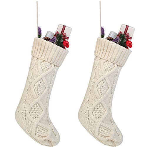 Free Yoka Cable Knit Christmas Stockings Kits Solid Color White Ivory Classic Decorations 18 Set Of 2 0