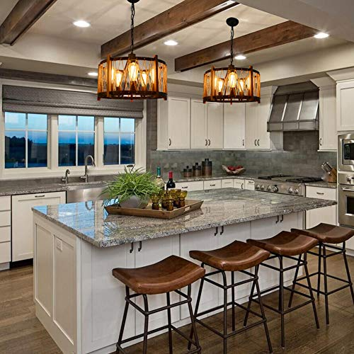 Giluta Wood Metal Chandelier Farmhouse Drum Pendant Light with Hemp Rope  Hanging Light Fixtures 5 Lights for Dining Room Kitchen Restaurants, Black  ...