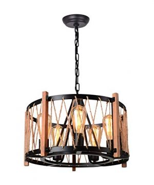 Giluta Wood Metal Chandelier Farmhouse Drum Pendant Light With Hemp Rope Hanging Light Fixtures 5 Lights For Dining Room Kitchen Restaurants Black C0066 0 300x360