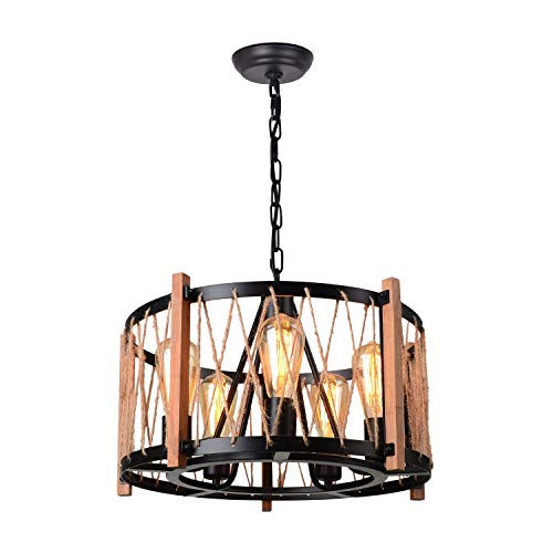 Giluta Wood Metal Chandelier Farmhouse Drum Pendant Light With Hemp Rope Hanging Fixtures 5 Lights For Dining Room Kitchen Restaurants Black