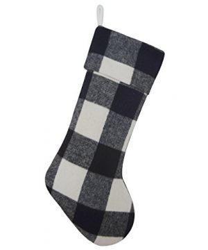 Gireshome Buffalo Check Black And White Plaid Body Same Plaid Cuff Christmas Stocking Xmas Tree Decor 10x18 0 300x360