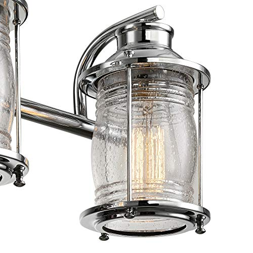 Globe Electric 51272 Bayfield 3 Vanity Light Chrome With Seeded Glass 0 0