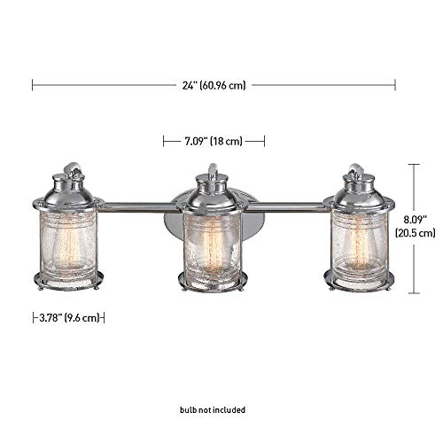 Globe Electric 51272 Bayfield 3 Vanity Light Chrome With Seeded Glass 0 3