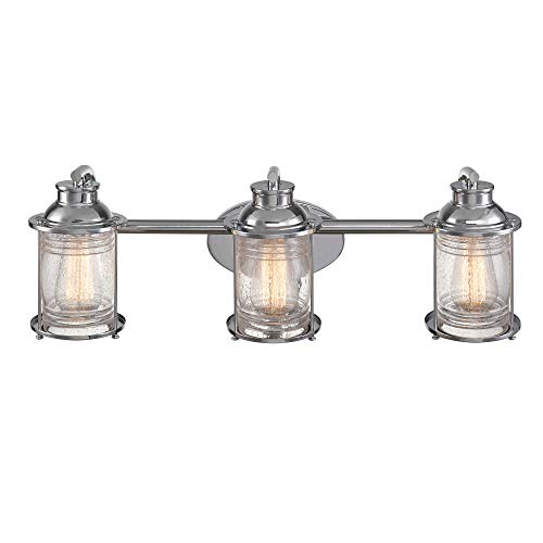 Globe Electric 51272 Bayfield 3 Vanity Light Chrome With Seeded Glass 0