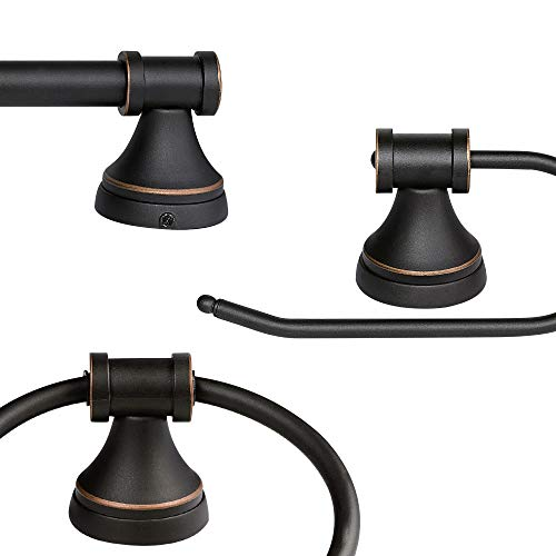 Globe Electric Parker 5 Piece All In One Bath Set Oil Rubbed Bronze Finish 3 Light Vanity Towel Bar Towel Ring Robe Hook Toilet Paper Holder 50192 0 1